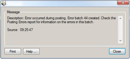 Error during posting